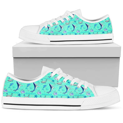 Dolphin Pattern Low Tops (Mint)