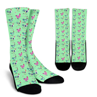 Funky Chicken Pattern Socks (Light Green)