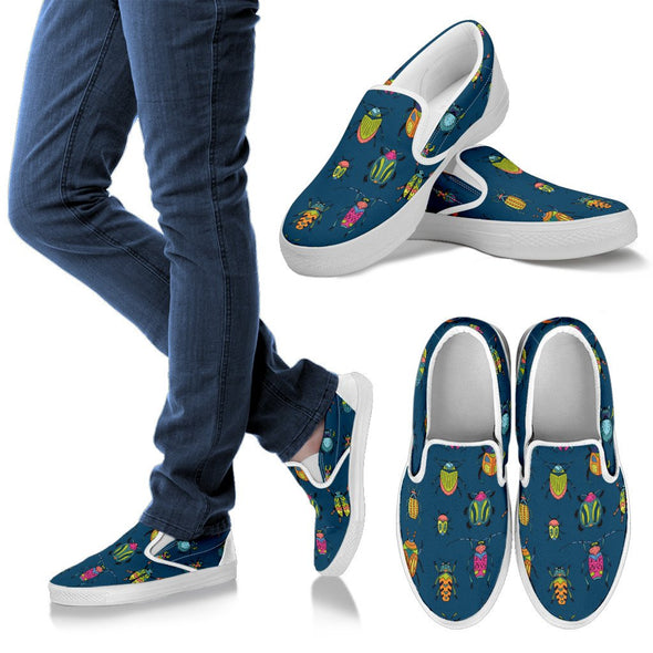 Bugs and Crawlies Pattern Slip Ons Shoes
