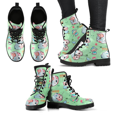 Sheep Leather Pattern Boots (Green)