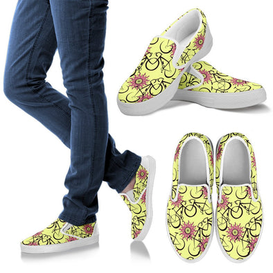 Bicycle Slip Ons Pattern Shoes (Yellow)