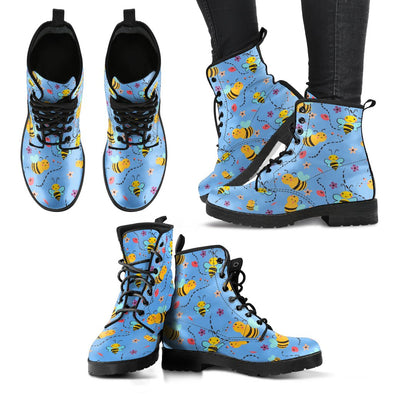 Bees Pattern Leather Boots (Blue)