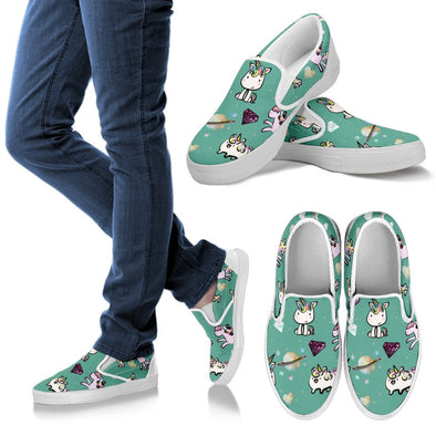 Unicorn Slip Ons Pattern Shoes (Teal)