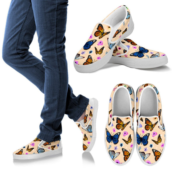 Butterfly Slip Ons Pattern Shoes