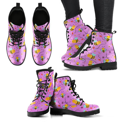 Bees Pattern Leather Boots (Violet)