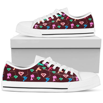 Origami Low-Tops Pattern Shoes (Maroon)