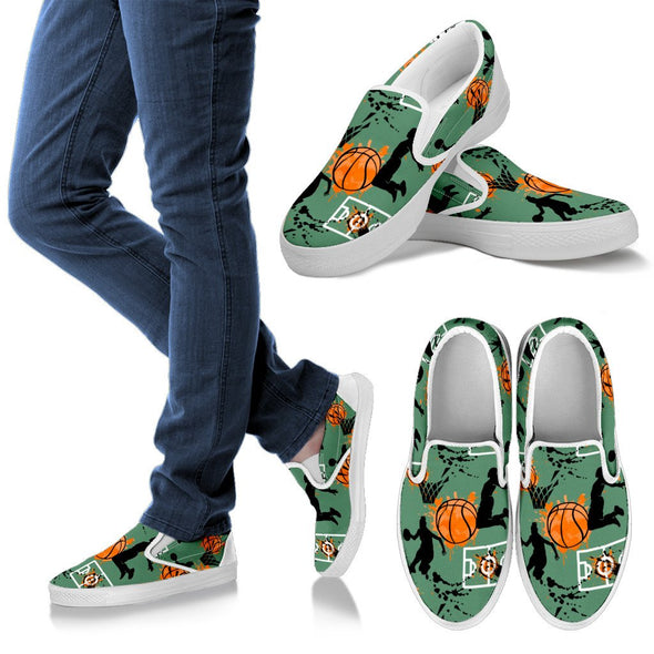 Basketball Pattern Slip Ons (Green)