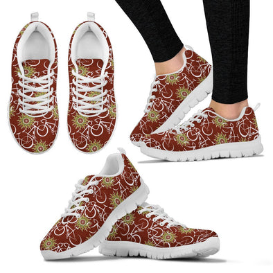 Bicycle Pattern Sneakers (Maroon)