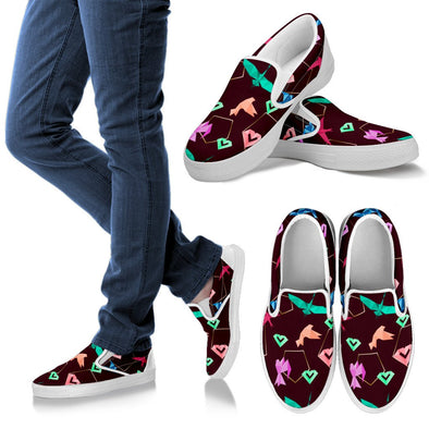 Origami Slip Ons Pattern Shoes (Maroon)