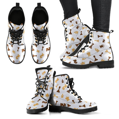 Chess Pattern Leather Boots
