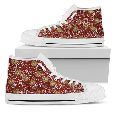 Bicycle Hi-Top Pattern Shoes (Maroon)