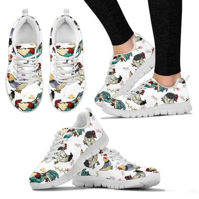 Chicken Rooster Pattern Sneakers (White)