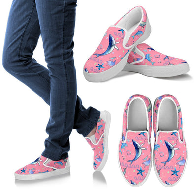 Dolphin Pattern Slip Ons (Pink)