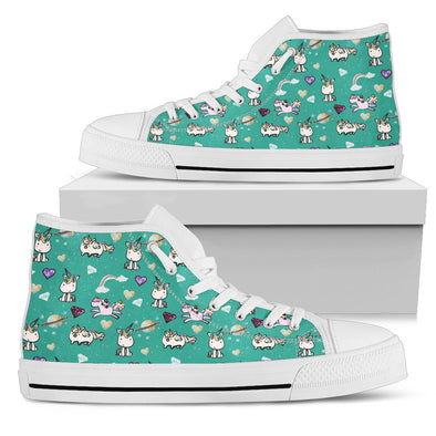 Unicorn Hi-Top Pattern Shoes (Teal)