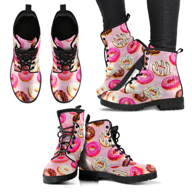 Donut Pattern Leather Boots