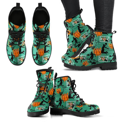 Basketball Pattern Leather Boots (Green)