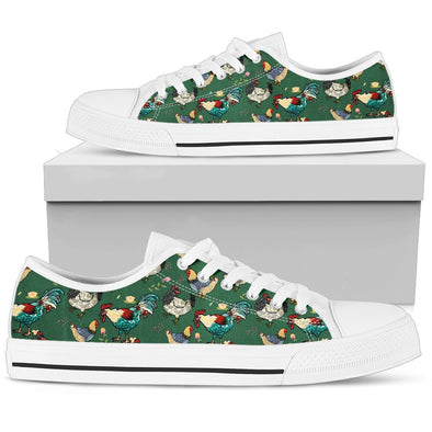 Chicken Rooster Pattern Low Tops (Green)