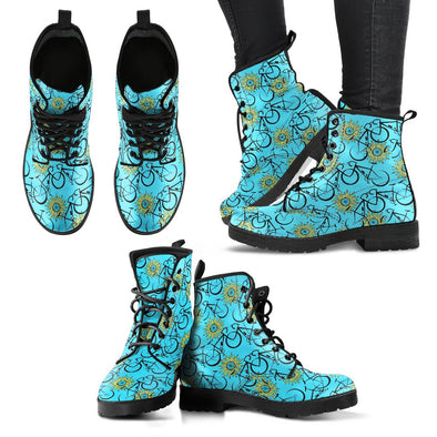 Bicycle Leather Pattern Boots (Blue)