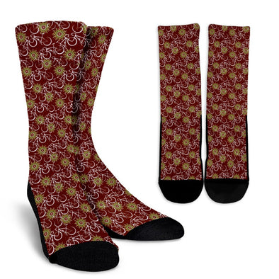 Bicycle Pattern Socks (Maroon)