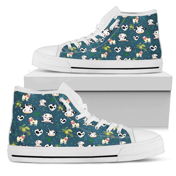 Cow Pattern High Tops (Dark Teal)