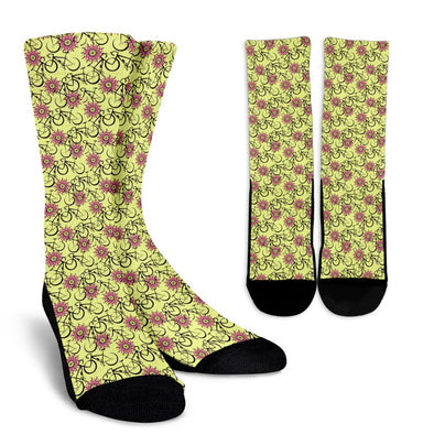 Bicycle Pattern Socks (Yellow)