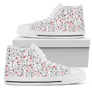 Nurse Symbols White Pattern Shoes - Nurse Sneakers