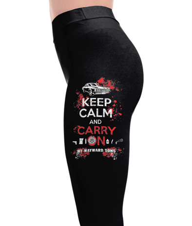 Keep Calm and Carry On My Wayward Son Leggings