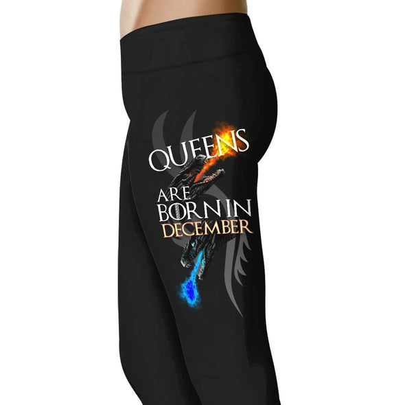 Dragon Queens Are Born In December - Birth Month Leggings