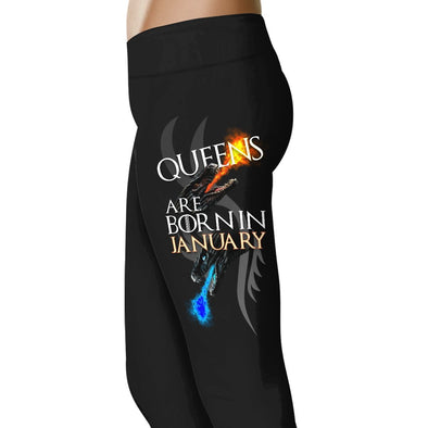 Dragon Queens Are Born In January - Birth Month Leggings