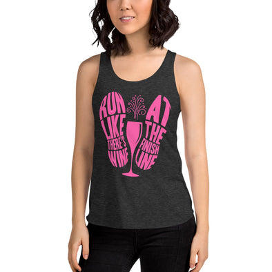 Wine At Finish Line - Women's Tri-Blend Racerback Tank