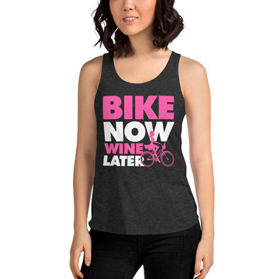 Bike Now Wine Later - Women's Tri-Blend Racerback Tank