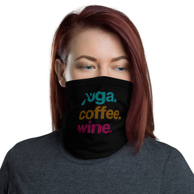 Wine, Yoga, Coffee Neck Gaiter - Black