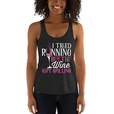 Kept Spilling Wine - Women's Tri-Blend Racerback Tank