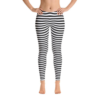 Black Stripes Polyester Spandex Leggings
