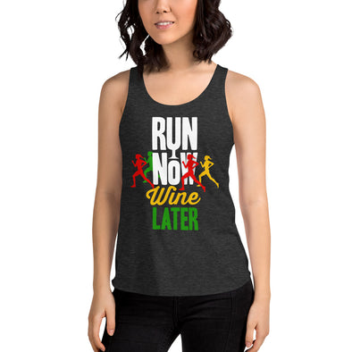 Run Now Wine Later - Women's Tri-Blend Racerback Tank