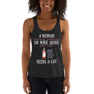 Wine Also Needs Cat - Women's Tri-Blend Racerback Tank