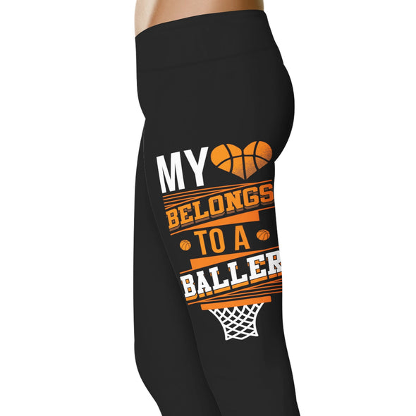 YouStatement Basketball My Heart Belongs To A Baller - Basketball Leggings