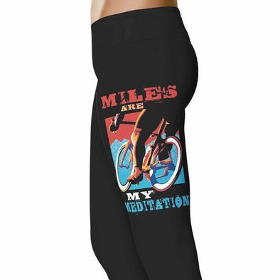 YouStatement Cycling Miles Are My Meditation - Cycling Leggings