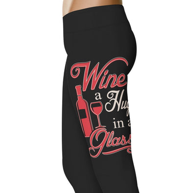 YouStatement Drinking Wine (A Hug In A Glass) - Drinking Leggings