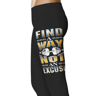YouStatement Fitness and Wit Find a Way Not An Excuse - Fitness and Wit Leggings
