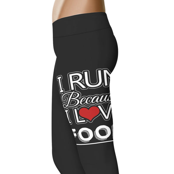 YouStatement Fitness and Wit I Run Because I Love Food - Fitness and Wit Leggings