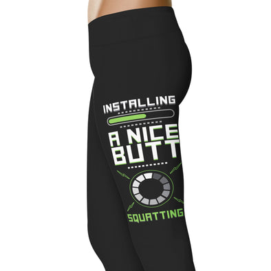 YouStatement Fitness and Wit Installing A Nice Butt Please Wait - Fitness and Wit Leggings