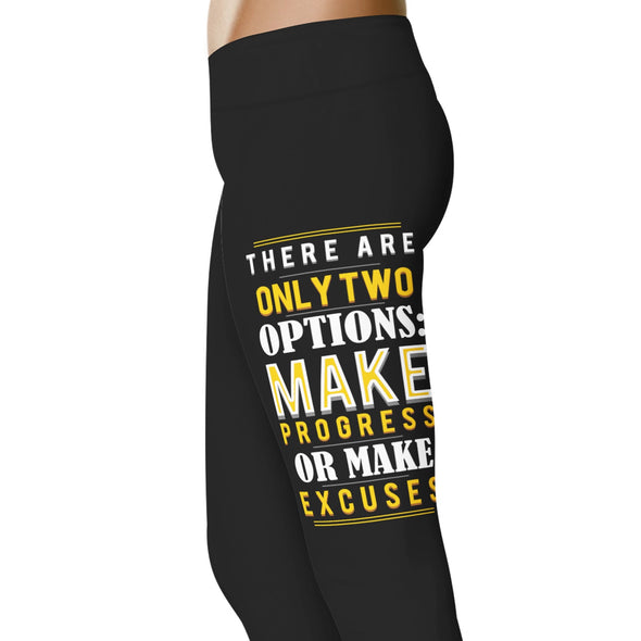 YouStatement Fitness and Wit Make Progress Or Make Excuses - Fitness and Wit Leggings