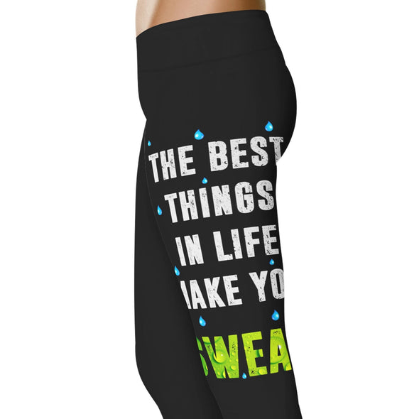 YouStatement Fitness and Wit The Best Things In Life Make You Sweat - Fitness and Wit Leggings