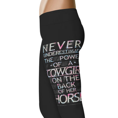 YouStatement Horses Never Underestimate The Power Of A Cowgirl - Horse Leggings