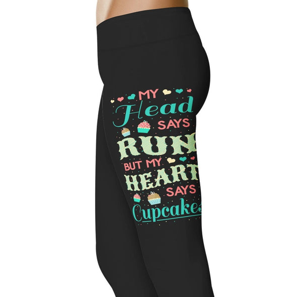 YouStatement Running My Head Says Run But My Heart - Running Leggings