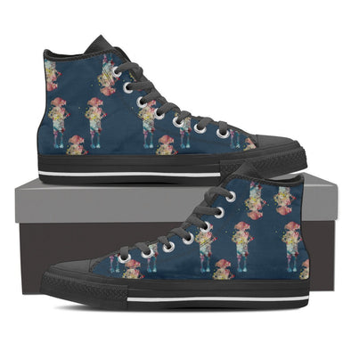 YouStatement Shoes Womens High Top - Black - Dobby Watercolor Art Hi-Tops - Women's / US6 (EU36) Dobby Watercolor Art Shoes