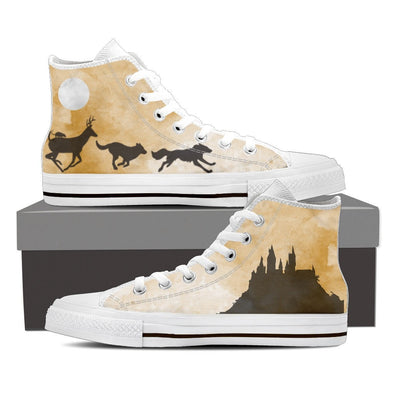 YouStatement Womens High Top - White - Marauders Full Moon HiTops - Women's / US6 (EU36) Marauders Full Moon Shoes