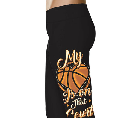 YouStatment Basketball My Heart Is On That Court - Basketball Leggings