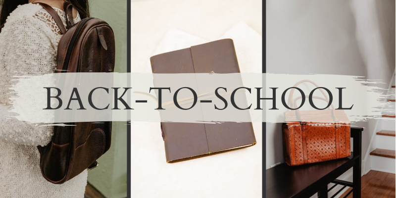 Back-to-school : All-for-one leather backpack, classic leather journal with tie, and cross sunrise leather shopper bag